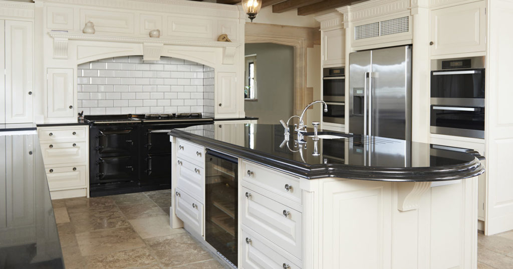 Luxury kitchen with clean appliances